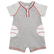 Mud Pie Baby Boys' Shortall One Piece, Baseball, 0-3 Months