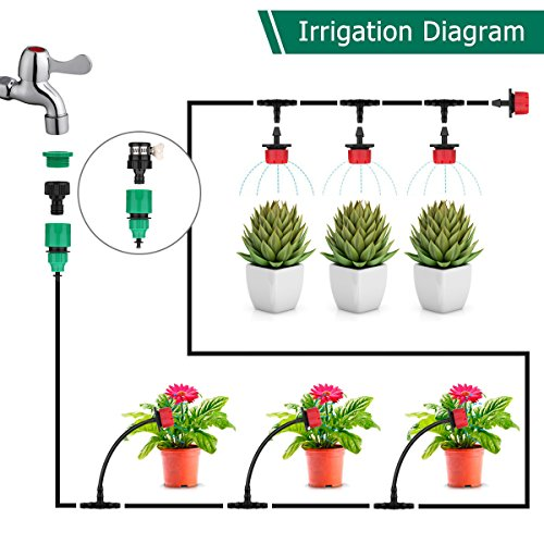 """Youngneer Automatic Drip Irrigation Kits Plant Watering System with 82FT 1/4"""" Tubing Hose 30 PCS Emitters Greenhouse Patio Garden Flower Bed DIY Self Irrigation System by Youngneer (Image #2)"""