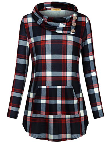 - Baikea Fall Pullover Sweaters for Women, Ladies Draped Neck Raglan Sleeve Cool Sweatshirts Button Details Jersey Knit Tunic Flexible Casual Hoodies Tops Navy Red Plaid L