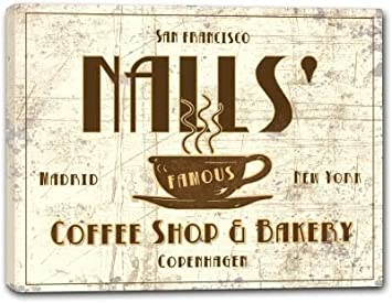 Amazon.com: NALLS Coffee Shop & Bakery Stretched Canvas ...