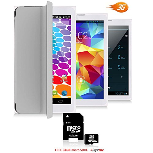 Indigi Dual Core Android Marshmallow Tablet & Smartphone & Smart Cover + 32GB microSD - 7'' - White by inDigi