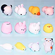 Package included : 12 PCS Decompression toys.  Size: 2.75'' or so.  Product Category: vent category   Decompression Toys Included : Q cat, Pink Rabbit, Pink Pig, Kawaii Rabbit, Q chicken, Fat Rabbit, Yellow duck, Seal, Polar bear, Totoro, Bear and Pa...