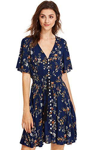 Milumia Women's Boho Button Up Split Floral Print Flowy Party Dress Small Multicolor-Blue