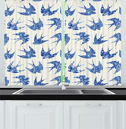 Ambesonne Animal Kitchen Curtains, Sparrows Fly Birds with Mosaic Antique Like Image Prints on Their Wings Artwork, Window Drapes 2 Panels Set for Kitchen Cafe, 55W X 39L Inches, Coconut Blue by Ambesonne