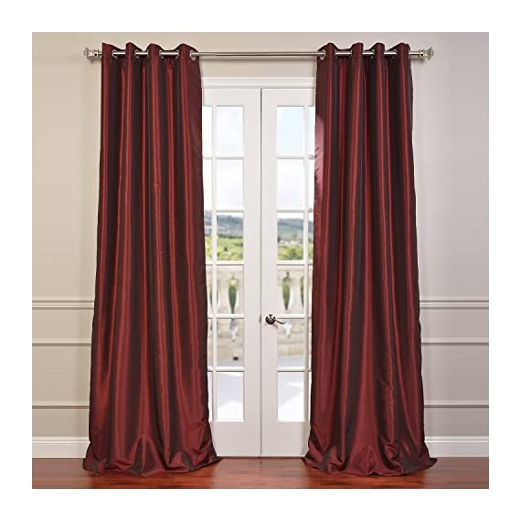 HPD Half Price Drapes PDCH-KBS5-108-GRBO Grommet Blackout Vintage Textured Faux Dupioni Silk Curtain (1 Panel), 50 X 108, Ruby - Sold Per Panel 100% Polyester Lined with plush blackout lining (ecru color) - living-room-soft-furnishings, living-room, draperies-curtains-shades - 51I6htNcFML. SS570  -