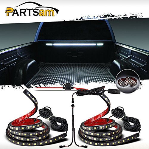 "Partsam Truck Bed Light White LED Strip Tailgate Light Bar 2pcs 60"" 90-5050-SMD Waterproof White Brake Reverse Signal Running Light with Switch Fuse Splitter Cable for Ford Jeep Dodge Ram RV Pickup"