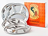 4-Pack STAINLESS STEEL Plate: 9.5 wide   Divided Plates   Kids Plates   Camping Plate   Reusable Plates