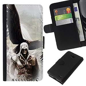 NEECELL GIFT forCITY // Billetera de cuero Caso Cubierta de protección Carcasa / Leather Wallet Case for LG OPTIMUS L90 // Asesinos Águila