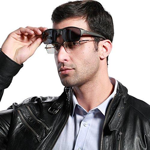 Duco Semi Rimless Sunglasses For Prescription Eyewear Polarized Sunglasses 8953T Gunmetal Frame Gray Lens,lens Height 40mm