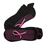 Crescent Moon ExerSocks (3-pack) Non-Slip Grip Socks (Pink Ribbon, Medium)