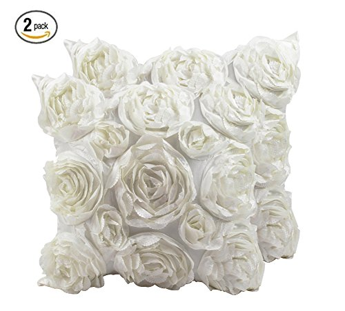 SeptCity Decorative Throw Pillow Covers for Couch Cushion Case, Romantic Love Satin Rose Wedding Party Home Decor, Home Gift (Set of 2) (Ivory ()