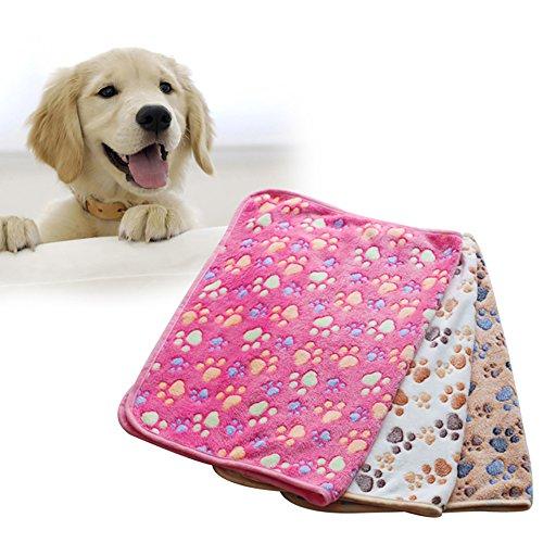 Creation® Ultra Soft Fleece-Tatzen-Druck Haustier-Werfen Couch-Decken-Matte für Hund und Katze-Bett-Kennel-Abdeckung (S, Braun)