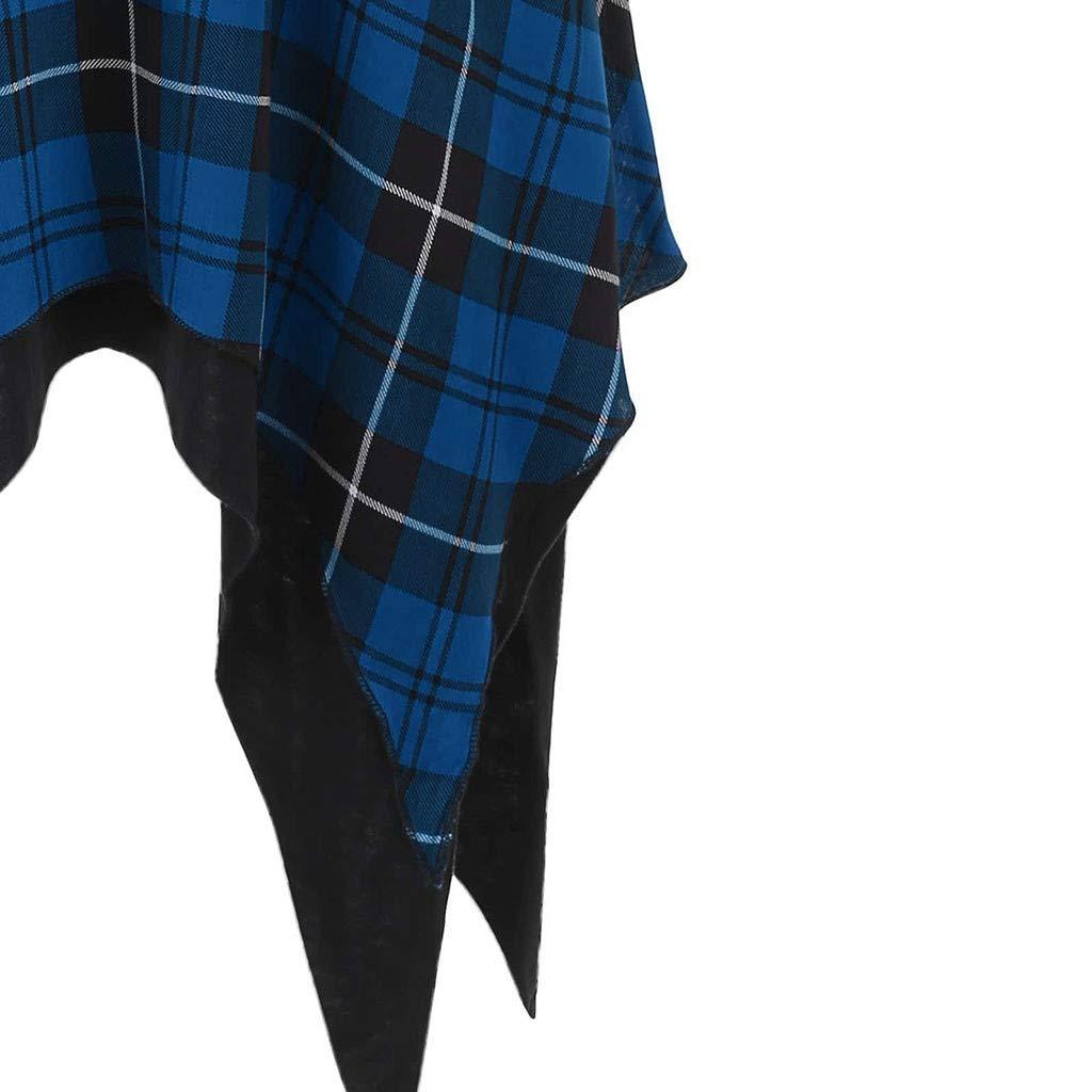 Rovinci Sommerkleid Damen Halbe /Ärmel Rundhals T-Shirt Kleid Asymmetrisch Plaid Muster Minikleid Lace Up Lange Shirt Lose Tunika Casual Partykleid Blusekleid Hemdkleid Lange Shirt Strandkleider