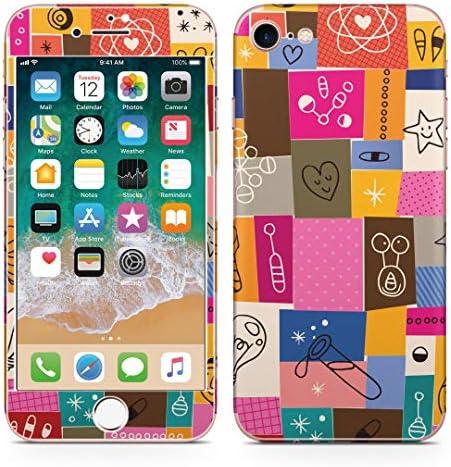 igsticker iPhone SE 2020 iPhone8 iPhone7 専用 スキンシール 全面スキンシール フル 背面 側面 正面 液晶 ステッカー 保護シール 008087 ユニーク ハート イラスト カラフル 模様
