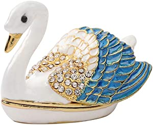 Furuida Swan Trinket Box Hinged Hand-Painted with Crystal Figurine Animal Ring Holder Ornaments Craft Gift for Home Decor (Blue)
