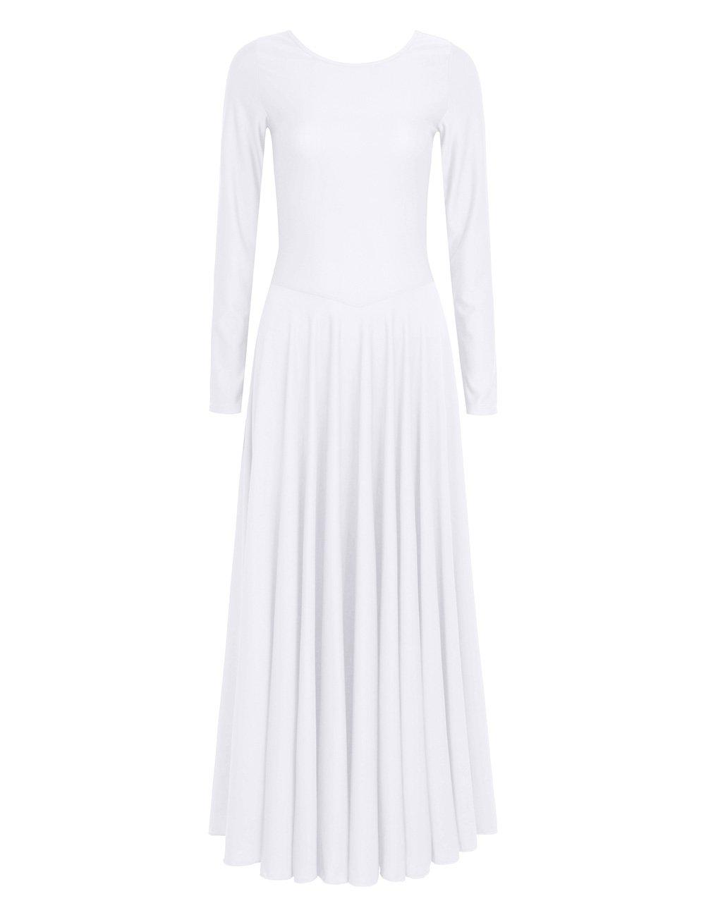 iiniim Womens Liturgical Praise Loose Fit Full Length Long Sleeve Dance Dress White Small
