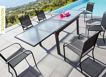 Table et fauteuils de jardin Hespéride CHAWENG, Noir: Amazon.fr ...