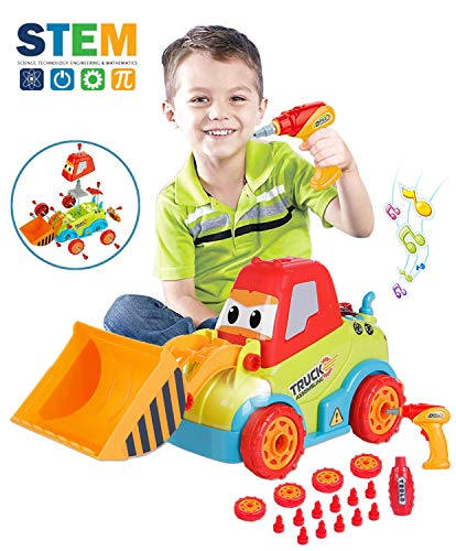 (Take Apart Toys for 3 Year Old Boys, Assembling Construction Bulldozer Kid Toys for 4-5 Year Old Boys and Girls, STEM Toys Car with Music, Lights and Drill Tool, Best Gifts for Kids Aged 3+)
