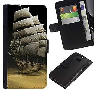 iBinBang / Flip Funda de Cuero Case Cover - Navegando el desierto - HTC One M8
