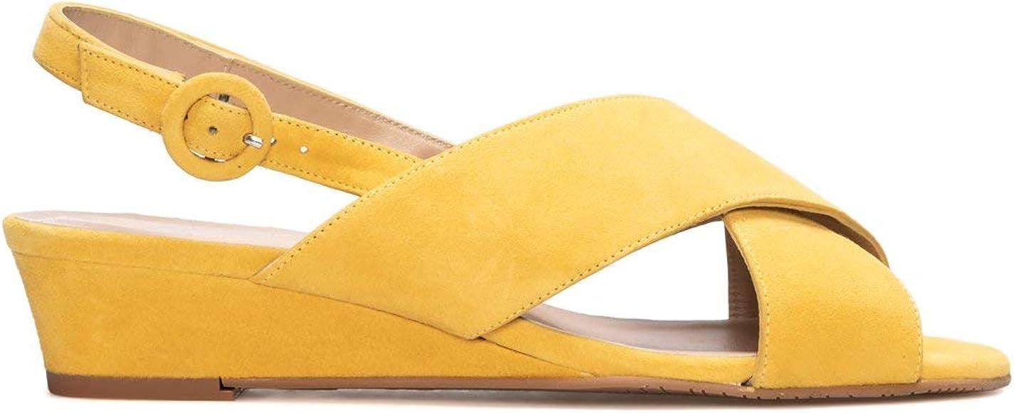 LEIRE - Sandalias Amarillas con Cuña Casual de Mujer en Piel con ...