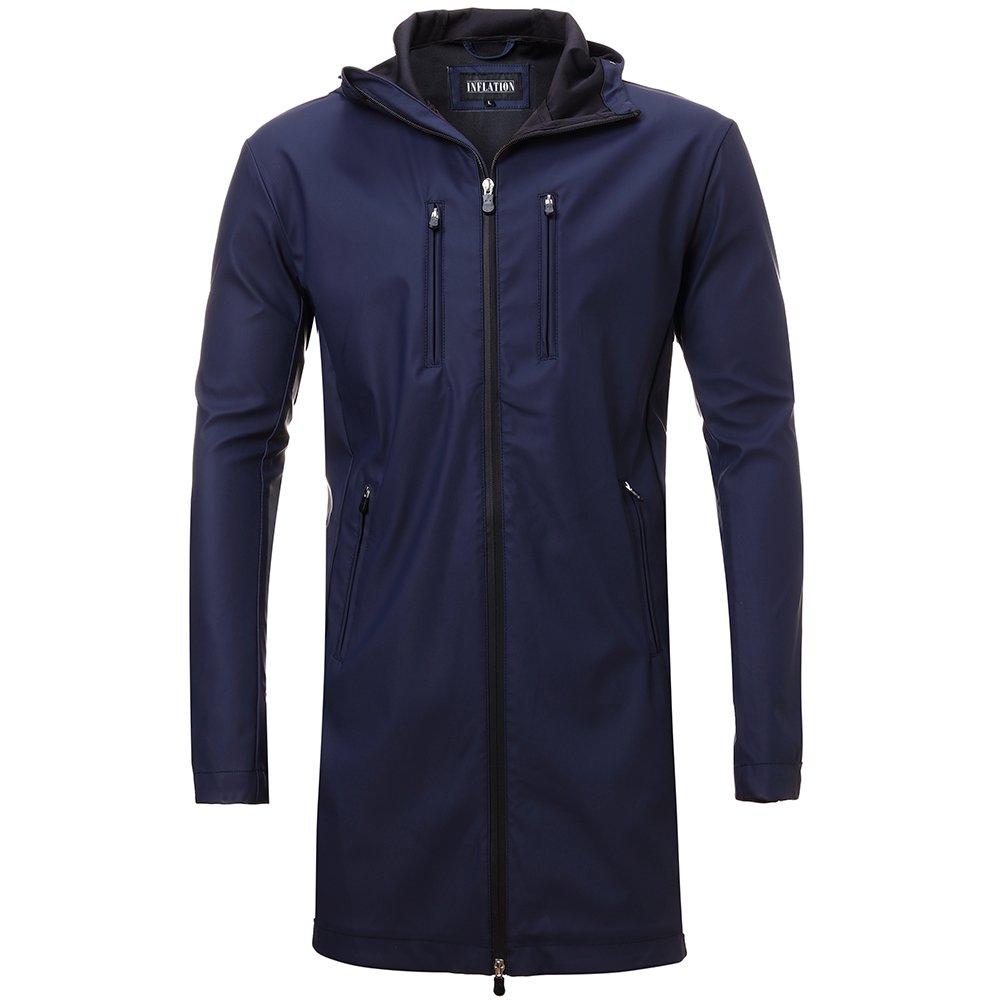 FLY HAWK Mens Lightweight Long Waterproof Raincoat Outdoor Trench Coat Navy Blue 2XL by FLY HAWK