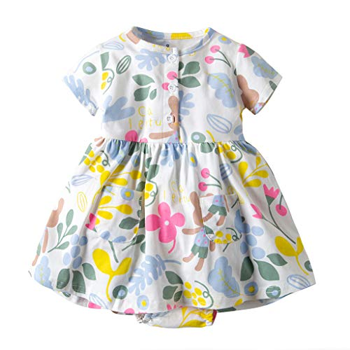 NUWFOR Toddler Kid Baby Girl Short Sleeve Floral Dress Princess Romper Dresses Clothes (Green,6-12 Months)