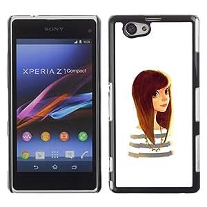 Inteligente Cute Girl pelo negro de oro de Brown- Metal de aluminio y de plástico duro Caja del teléfono - Negro - Sony Xperia Z1 Compact / Z1 Mini (Not Z1)
