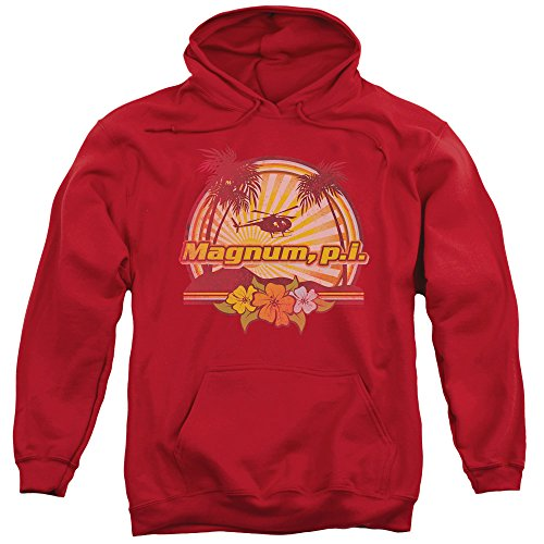 Magnum P.I. PI Hawaiian Sunset Vintage Style NBC 80s TV Show Adult Hoodie (80s Style Guys)