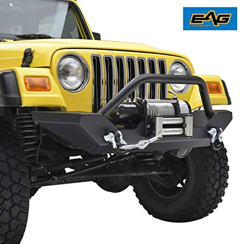 EAG Front Bumper with 2x D-ring & Winch Plate Black Textured Fit for 87-06 Jeep Wrangler TJ YJ
