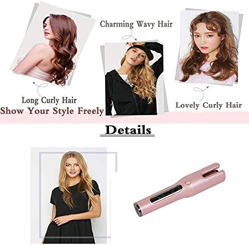 Xigeapg 360 ℃ Multi-Function LCD Curling Iron USB Charging Hair Curler Styling Tools Curlers Wand Curl Automatic Curly Air(Black)  dgCKL