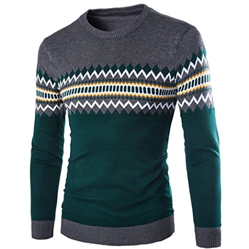Longay Men's Sweater Plus Size Sweatshirt Slim Fit Long Sleeve Casual Warm Knitting Pullover Top Blouse (M, Dark Gray)