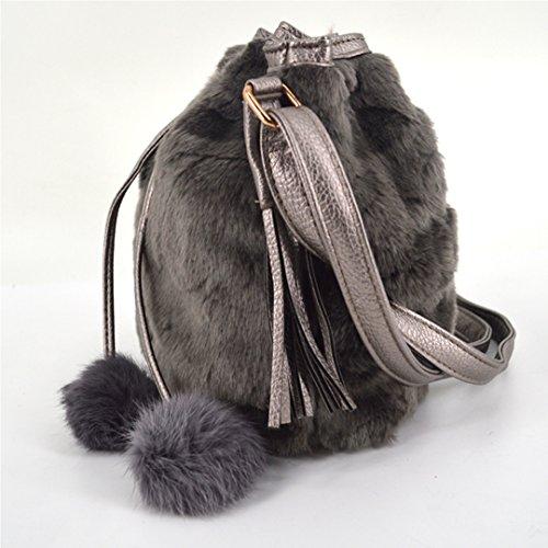 Pompon Fluffy Plush Shoulder La Women Fur Faux Haute Grey Drawstring Winter Crossbody Bucket Bag wqPTqZAzvx