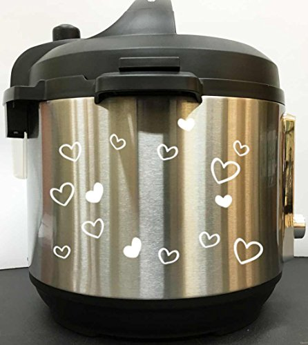 Pressure Decal - Cute Hearts Art Decal Sticker - White Vinyl Decal Sticker for Instant Pot Instapot Pressure Cooker