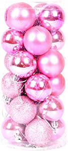 "ALIMITOPIA 24pcs Christmas Ball Baubles,1.6"" Shatterproof Assorted Colors Mirror Surface Hang Balls Pendant for Xmas Tree Decoration (1.6""(Pink))"