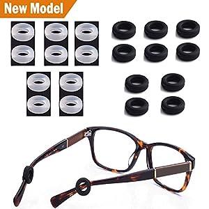 Fudun Silicone Eyeglasses Temple Tips Sleeve Retainer,Anti-Slip Round Comfort Glasses Retainers For Spectacle Sunglasses Reading Glasses Eyewear,10 pairs