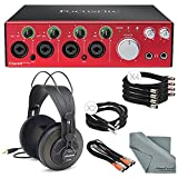 Focusrite Clarett 4Pre - Thunderbolt Audio Interface Bundle W/ 4x XLR Cable + 2 MIDI to 2 MIDI (Dual) Cable + 2x 1/4 Inch Cable + Samson Studio Headphones + FiberTique Cleaning cloth