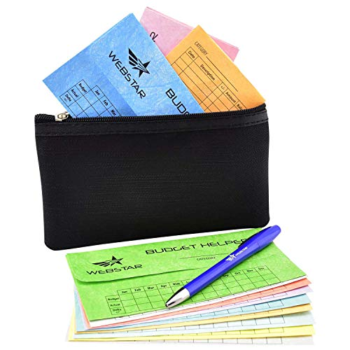 Webstar Cash Envelopes Budget System - Bonus Money Wallet and Pen, Budget Helper 12 Pack Different Colors, Tear & Water Resistant, Can Be Used As Bills Coupon Receipt Coin Holder Planner Organizer
