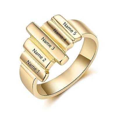 seleccione original diseño de variedad materiales de alta calidad Lam Hub Fong grabable 5 Nombres BFF Amistad Anillos para ...