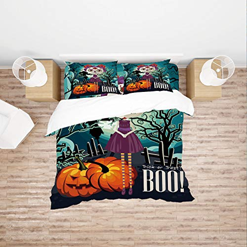 SCOCICI Singe Size Duvet Cover Set/Halloween,Cartoon Girl with Sugar Skull Makeup Retro Seasonal Artwork Swirled Trees Boo Decorative,Multicolor / 4 Piece Bedding Set