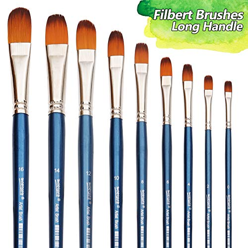 Long Filbert - Filbert Paint Brushes Set, 9 Pcs Professional Artist Brush for Acrylic Oil Watercolor Gouache Painting Long Handle Brushes Nylon Hair
