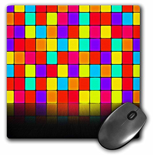 3dRose Anne Marie Baugh - Room Effects - Colorful Squares Wall with Mirrored Effect Floor - Mousepad (mp_213813_1)