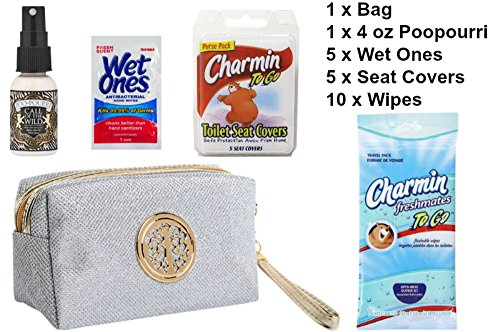 Poo-Pourri Kit for Ladies | Before-You-Go 4 oz Spray, Call of the Wild | Charmin To Go Freshmates Flushable Wipes, 10 Moist Wipes | 10 Toilet Seat Covers | 5 Wet Ones Wipes | Discreet Bathroom Bag