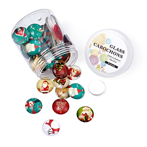 Pandahall About 50pcs/Box Christmas Theme Half Round Flat Back Glass Cabochons 1 Inch (25mm) for Jewelry Making