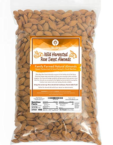 Raw Almonds Sweet Wild Harvested - Fresh & Plump - Naturally Steam Pasteurized 100% Natural Almonds - Family Farmed Since 1875 3lb. 5 & 10lb Bulk Bags Available - Ellie's Best ()