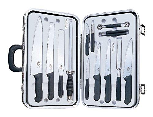 Victorinox 14-Piece Gourmet Cutlery Set, Fibrox Handles with Attache Case