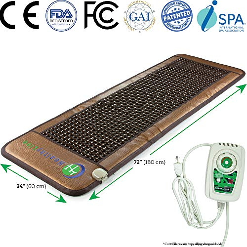 HL HEALTHYLINE - Far Infrared Heating Mat - 72in x 24in - Tourmaline Hot Stone - Negative Ions - Auto Shut Off, Timing, Temperature Settings - FDA Reg Mfgr