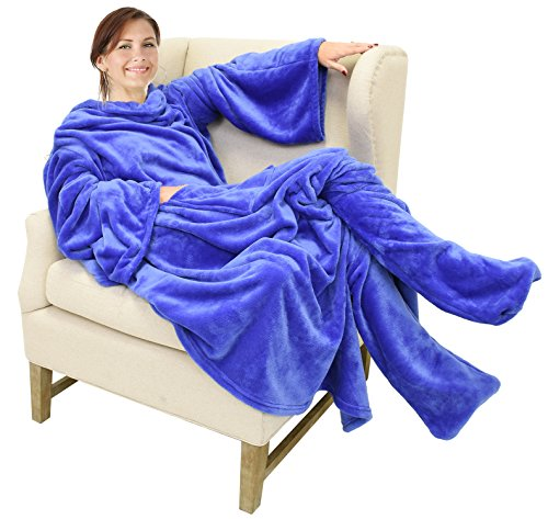 Catalonia Wearable Fleece Blanket with Sleeves and Foot Pockets for Adult Women Men,Micro Plush Comfy Wrap Sleeved Throw Blanket Robe Large,Blue