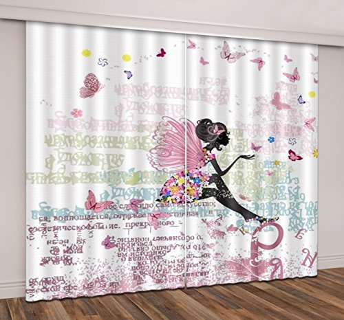 84' Dining Sets Pattern (LB Teen Kids Room Décor 3D Blackout Curtain and Drapes,Sitting Flower Butterfly Girl 3d Scenic Curtain for Bedroom Living Room 2 Panels Set,104W x 84L Inches)