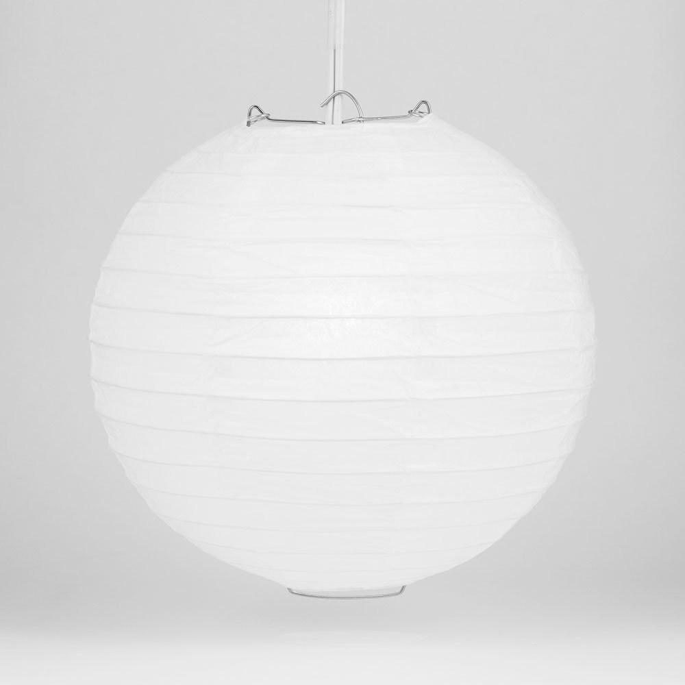 Quasimoon PaperLanternStore.com 36'' White Round Paper Lantern, Even Ribbing, Hanging Decoration