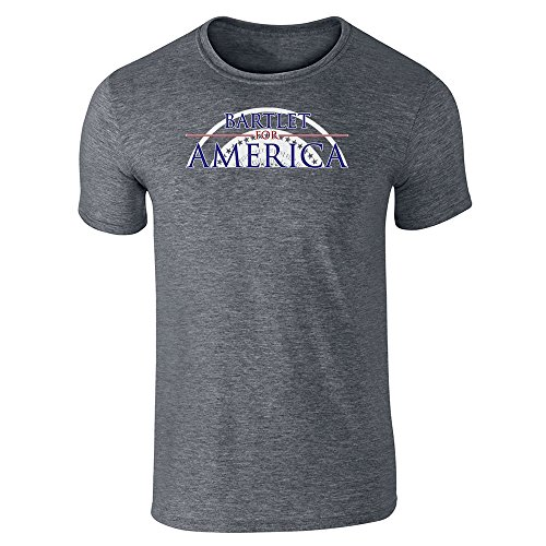 Pop Threads Jed Bartlet For America Presidential Campaign Dark Heather Gray L Short Sleeve T-Shirt